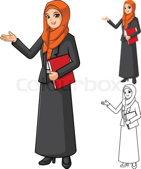 Modern House Drawing by Muslim Businesswoman Wearing Orange Veil Or Scarf With