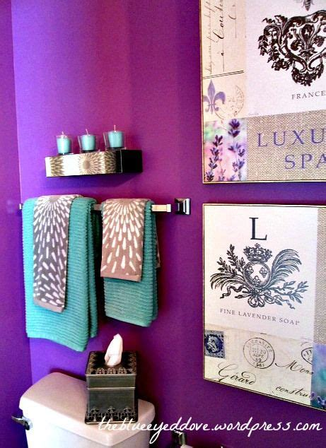 purple bathroom decorating with purple turquoise and