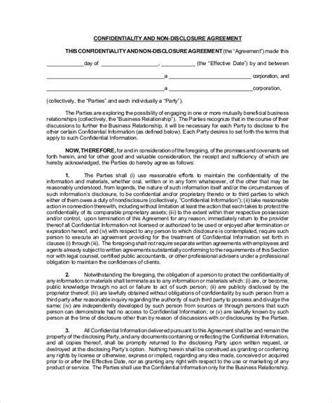 standard  disclosure agreement form   word  documents   premium