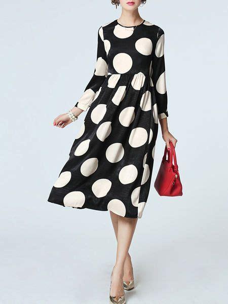 Midi Dress Polkadot Simple black white polka dots casual midi dress sleeve polka dots and printed
