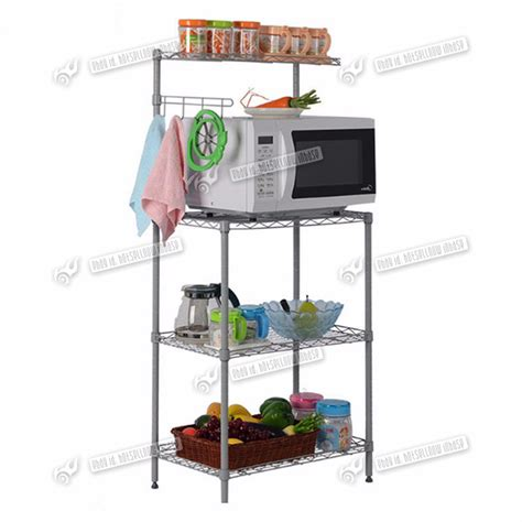 3 layer metal stand cart trolley microwave oven rack