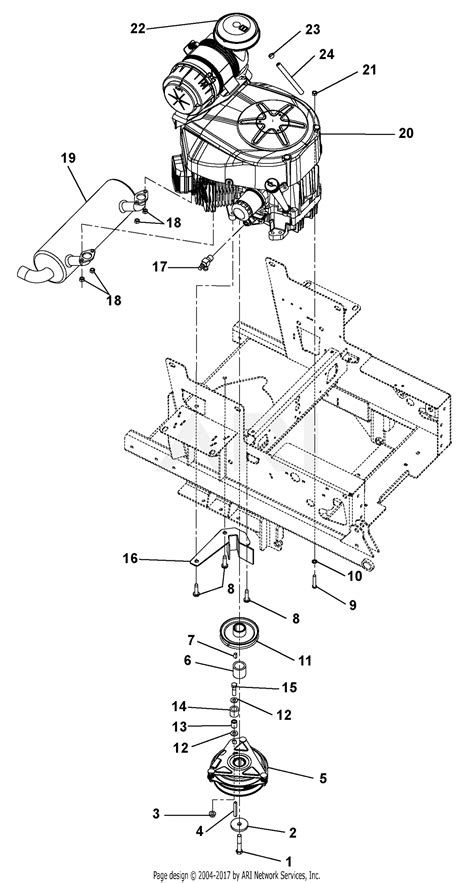 gravely   pmi kawasaki  deck parts diagram  engine