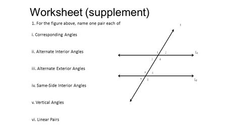 Exterior Angles Worksheet by Transversal Ppt