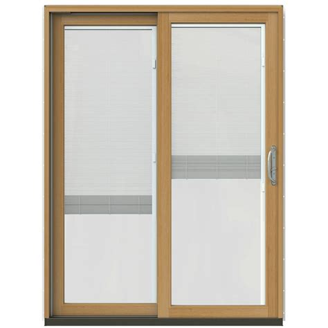 Jeld Wen Sliding Patio Doors With Blinds Jeld Wen 59 25 In X 79 5 In W 2500 Vanilla Prehung Left Clad Wood Sliding Patio