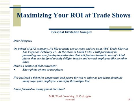 Invitation Letter Format For Trade Fair How To Maximize Your Trade Show Roi Pre Show