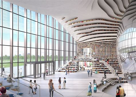 Houses Designs chinese library holds 1 2 million books within its curved