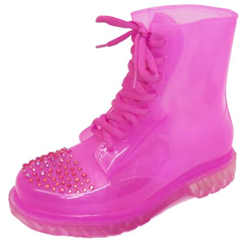 Jelly Clear Buy 1 Get 1 flat pink clear festival jelly wellies lace up