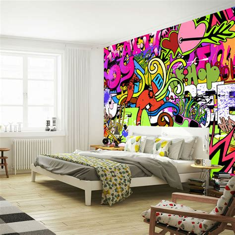 bedroom wall graffiti ideas graffiti wall art bedroom rabbit shadow graffiti wall