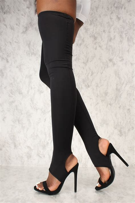 cut out high heels black open toe cut out thigh high heel boots