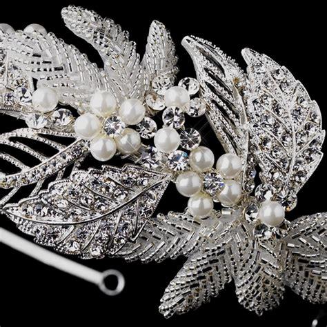 Faux Pearl Leaves Headpiece antique silver pearl leaf headpiece 947