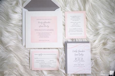 grey and pink wedding invitation cards pink and gray letterpress wedding invitations paper and home