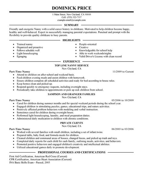 resume part time doc 8001035 resume sle for part time bizdoska