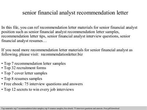 Financial Analyst Letter Of Recommendation Senior Financial Analyst Recommendation Letter