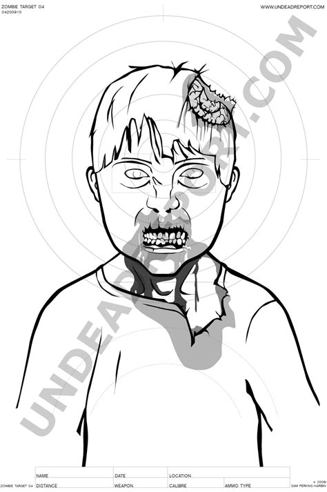 printable zombie face targets free coloring pages of zombie target