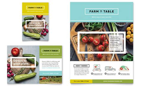 product layout ad organic food flyer ad template design