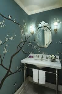 Beautiful powder room design with sakura tree wallpaper marble