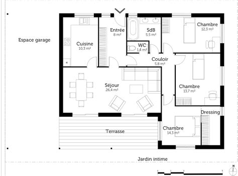 plan maison 3 chambre plan maison 90m2 plain pied 3 chambres evtod