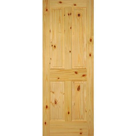 Interior Knotty Pine Doors Builder S Choice 32 In X 80 In 4 Panel Solid Knotty Pine Single Prehung Interior Door