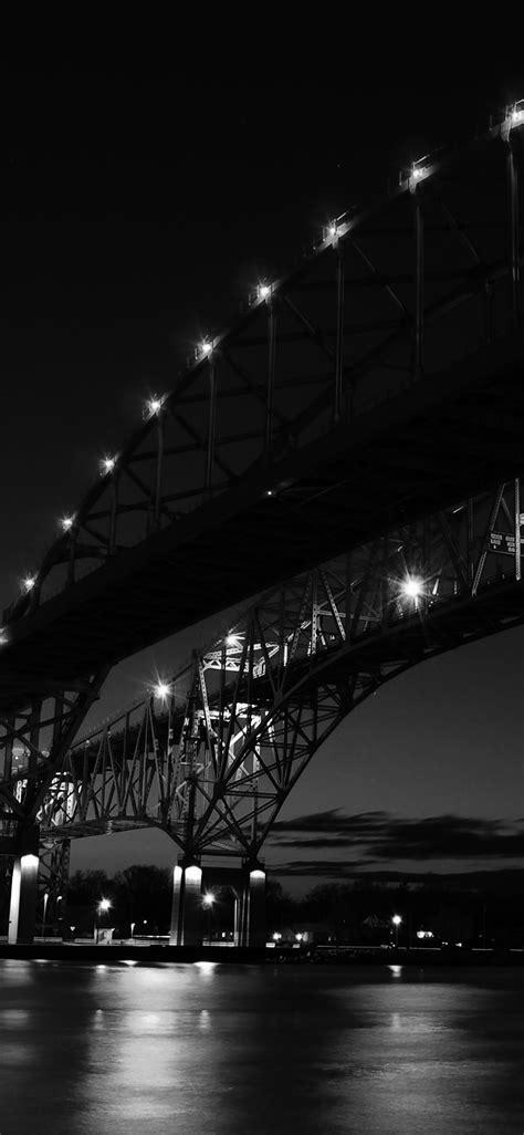 ml bridge  usa america bw dark river nature city wallpaper