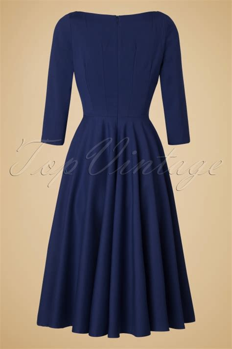 navy blue swing dress 50s serena swing dress in navy