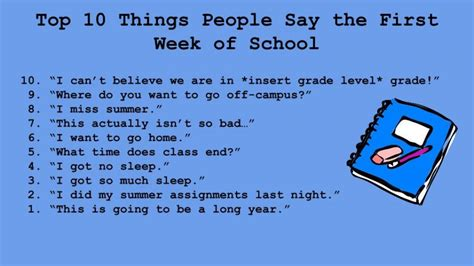 Ten Things That Are For You by Cat Talk Top Ten Things Say The Week Of School