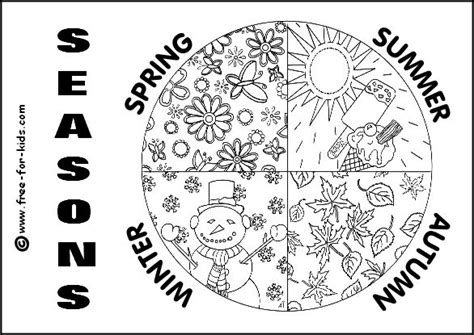four seasons coloring page seasons unit pinterest