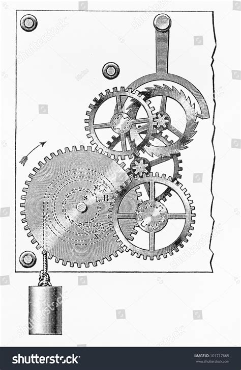 doodle mechanism vintage 19th century drawing representing stock photo