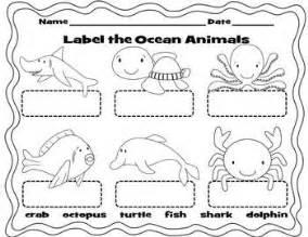 label the ocean animals worksheet sea life art