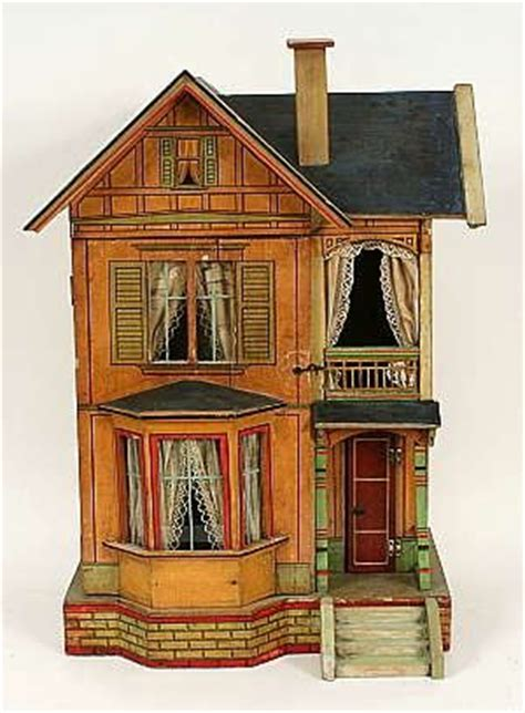 dolls house vintage dollhouse with lace curtains i like these old dollhouses great colors and simple design