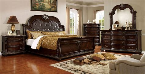 sleigh bedroom furniture sets 4 piece fromberg sleigh bedroom set brown cherry