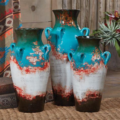 decorating pottery santa fe teal pottery vases set of 3