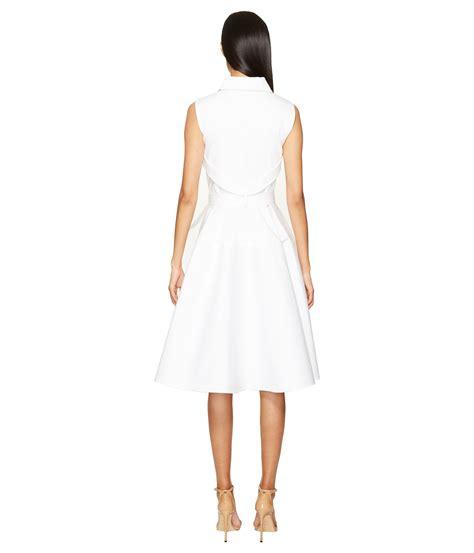 A Line Shirtdress zac posen sleeveless knot waist a line shirtdress white