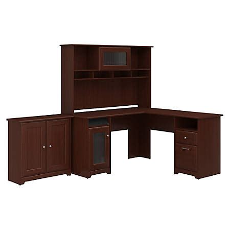 cabot l shaped desk bush furniture cabot l shaped desk with hutch and small