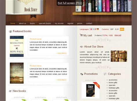 free bookstore website template 50 free css x html templates noupe