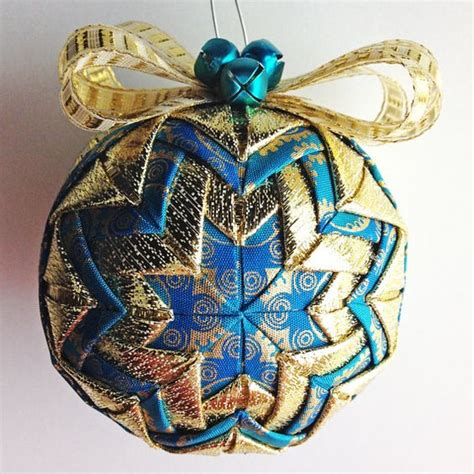 teal opulence teal gold handmade quilted ornament