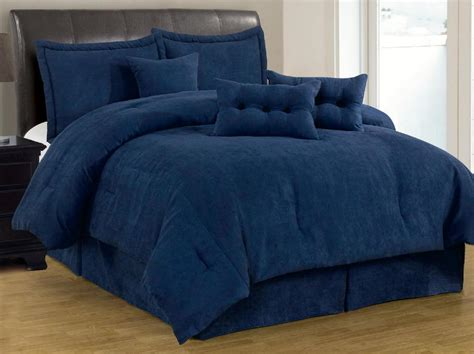 7 Pc Solid Navy Blue Micro Suede Comforter Set Cal King