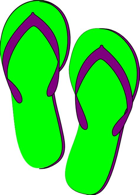 flip flops clip green purple flip flops clip at clker vector