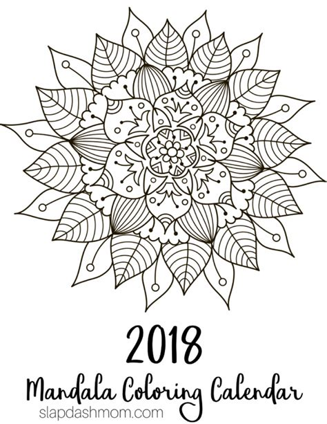 Coloring Pages 2018 Free Printable 2018 Calendar Mandala Coloring Pages by Coloring Pages 2018