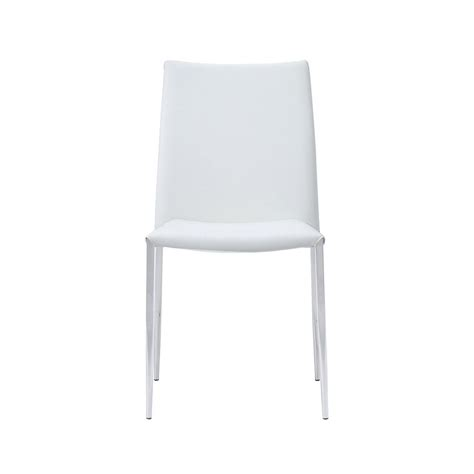 Set Of 4 White Dining Chairs Siena Dining Chair White Faux Leather Set Of 4