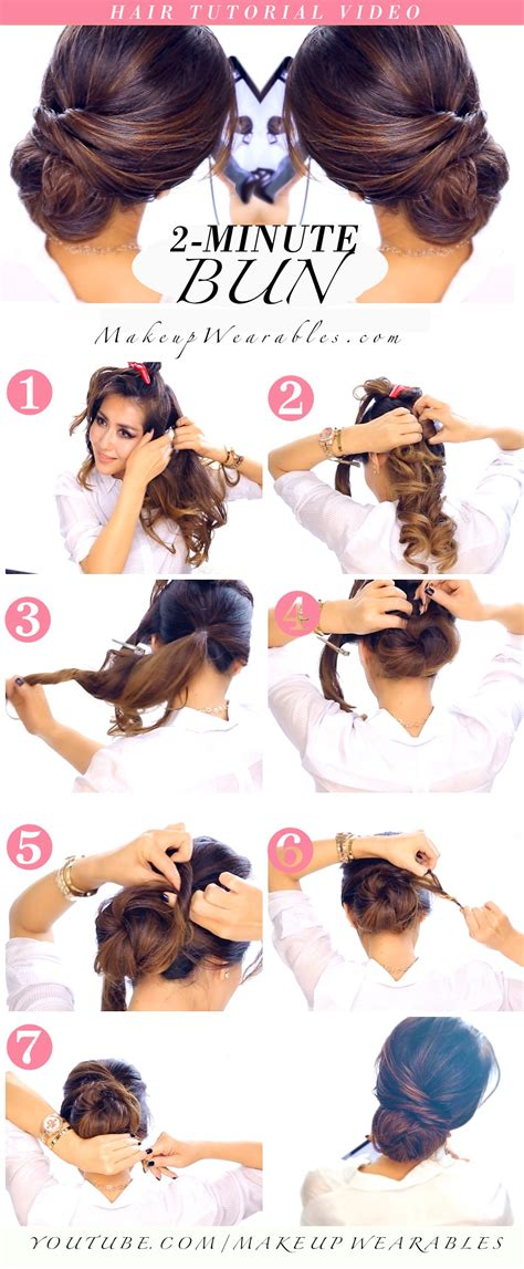 easy and quick bun hairstyles 2 minute elegant bun hairstyle totally easy hair tutorial