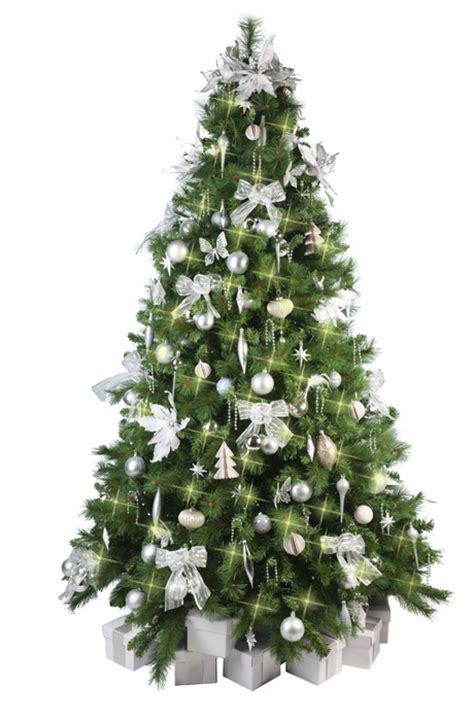 christmas tree with white silver decorations