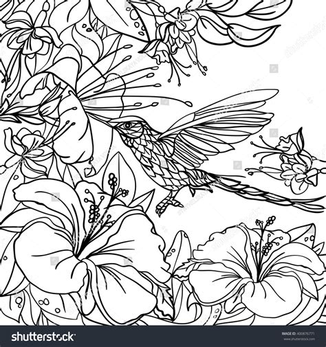tropical leaves coloring pages coloring pages tropical birds flowers leaves stock vector