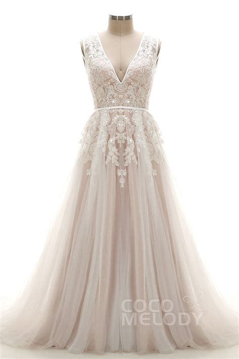 low cost wedding dresses los angeles cocomelody a line v neck tulle lace court wedding