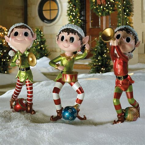 set of three pixie elves frontgate outdoor decorations traditional outdoor