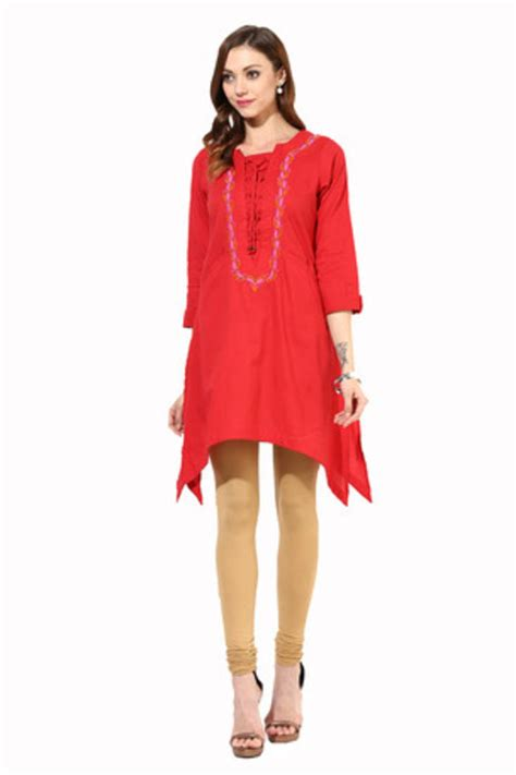 dori pattern kurti buy avishi red embroidered asymmetric kurta with dori online