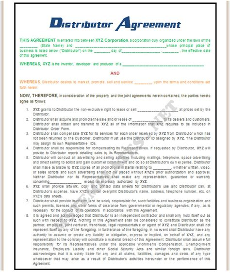 distributor agreement template images frompo