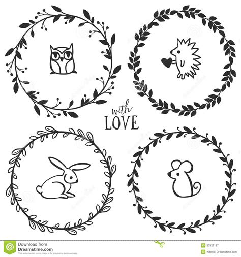 hand drawn rustic vintage wreaths with lettering stock