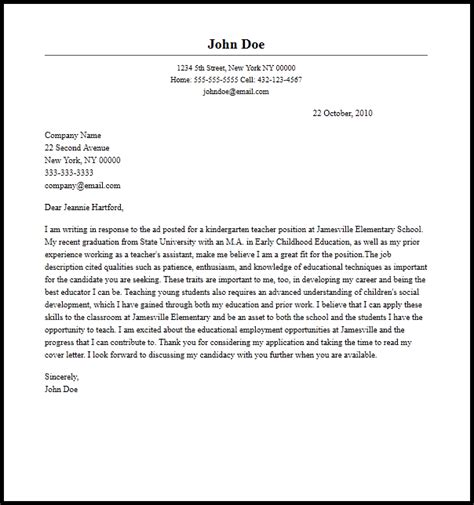 professional kindergarten teacher cover letter sle