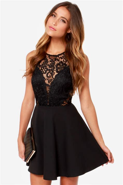 pretty black dress lace dress skater dress