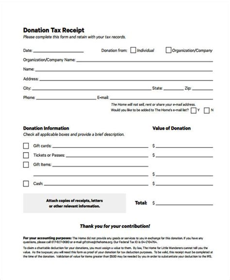 tax receipt template printable receipt forms 41 free documents in word pdf